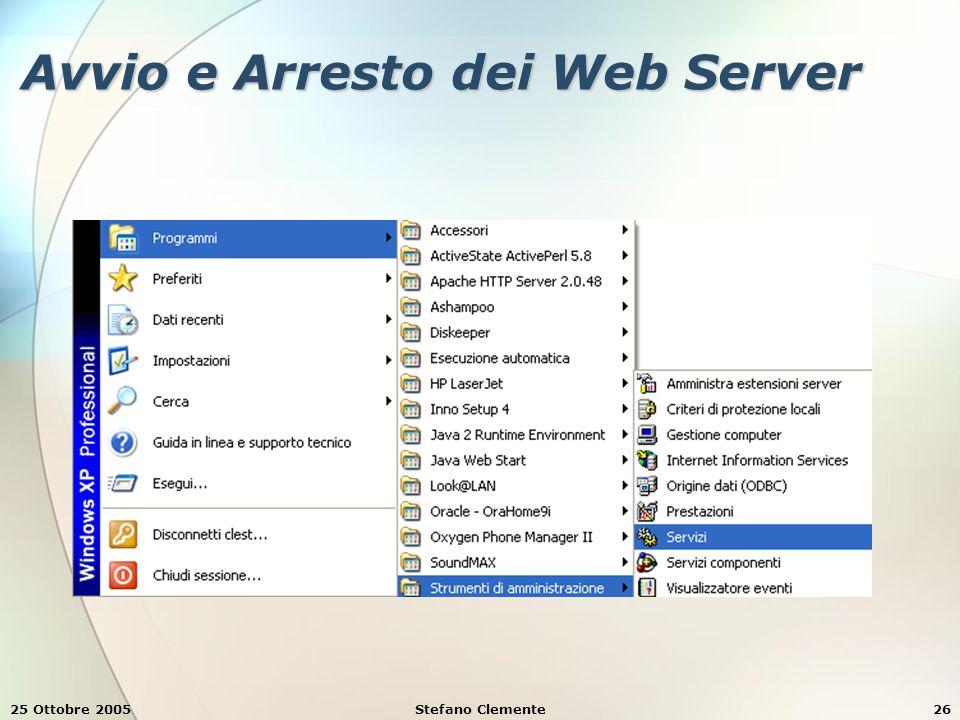 25 Ottobre 2005Stefano Clemente26 Avvio e Arresto dei Web Server