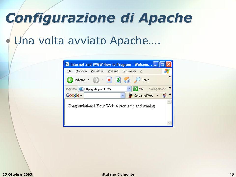 25 Ottobre 2005Stefano Clemente46 Configurazione di Apache Una volta avviato Apache….
