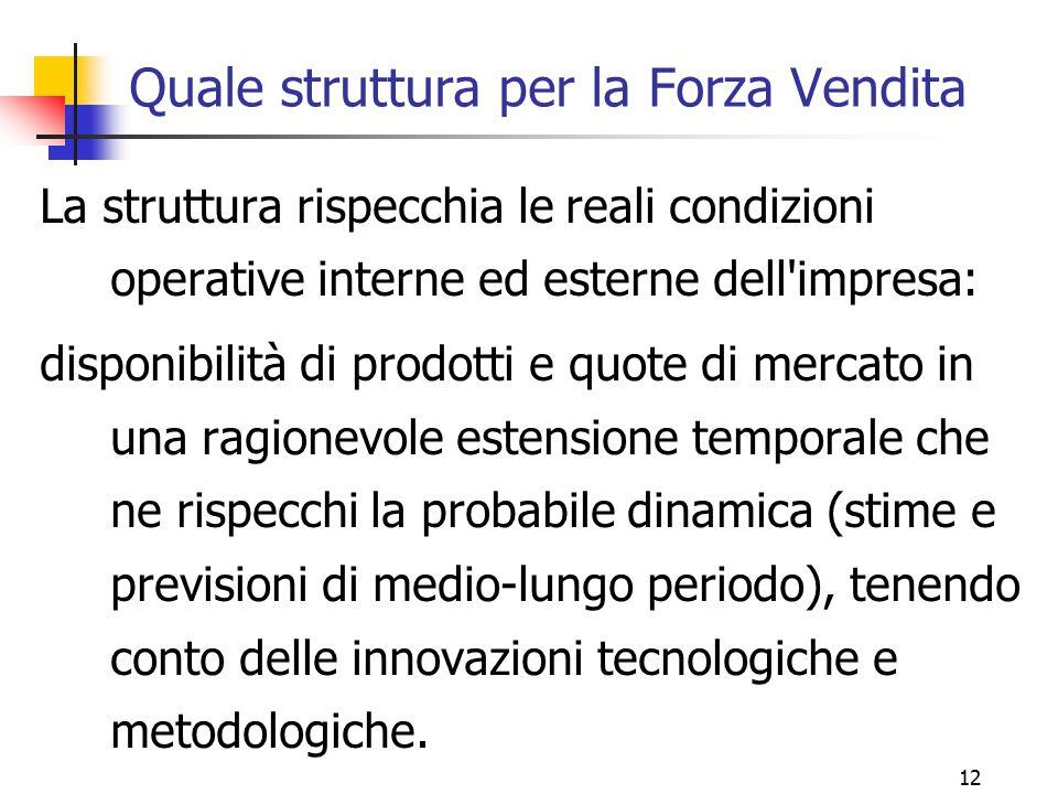 12 Quale struttura per la Forza Vendita La struttura rispecchia le reali condizioni operative interne ed esterne dell'impresa: disponibilità di prodot