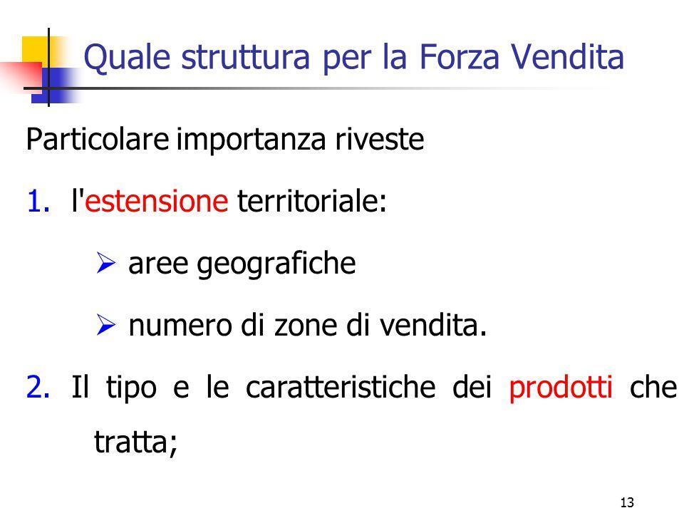 13 Quale struttura per la Forza Vendita Particolare importanza riveste 1.l'estensione territoriale:  aree geografiche  numero di zone di vendita. 2.