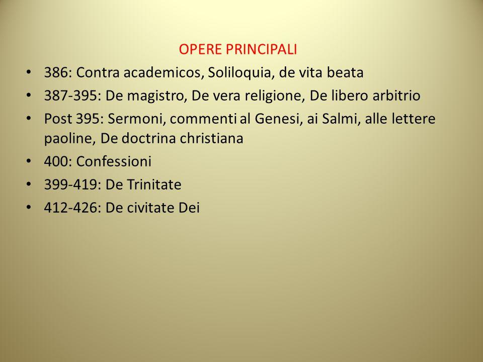 OPERE PRINCIPALI 386: Contra academicos, Soliloquia, de vita beata 387-395: De magistro, De vera religione, De libero arbitrio Post 395: Sermoni, comm