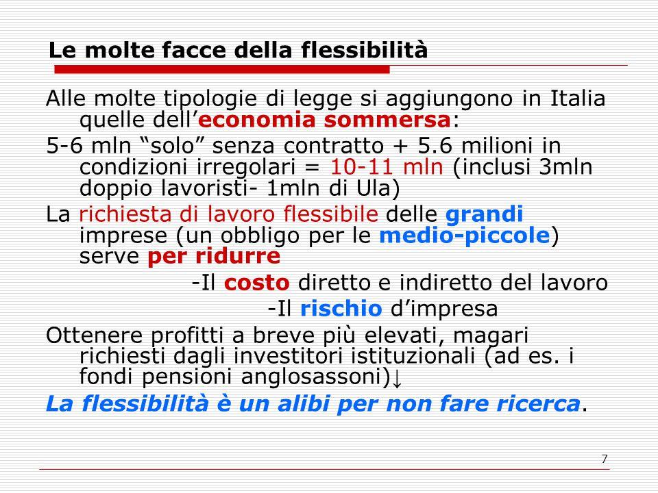 """7 Le molte facce della flessibilità Alle molte tipologie di legge si aggiungono in Italia quelle dell'economia sommersa: 5-6 mln """"solo"""" senza contratt"""