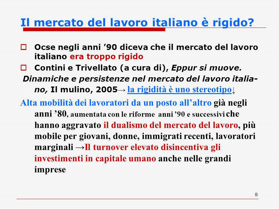 8 Il mercato del lavoro italiano è rigido?  Ocse negli anni '90 diceva che il mercato del lavoro italiano era troppo rigido  Contini e Trivellato (a