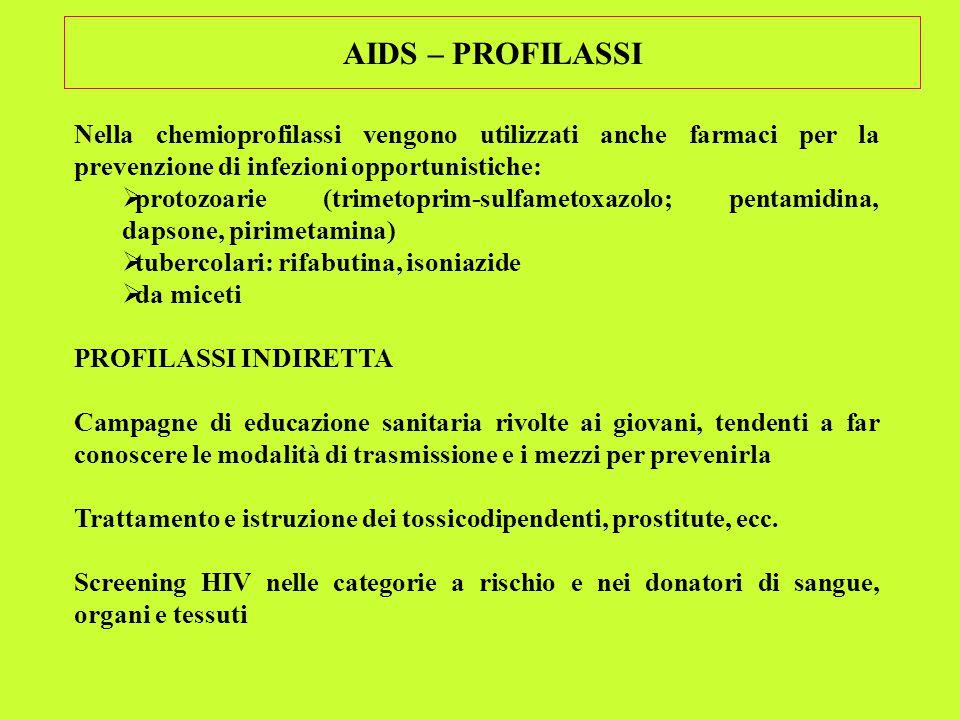 AIDS – PROFILASSI Nella chemioprofilassi vengono utilizzati anche farmaci per la prevenzione di infezioni opportunistiche:  protozoarie (trimetoprim-