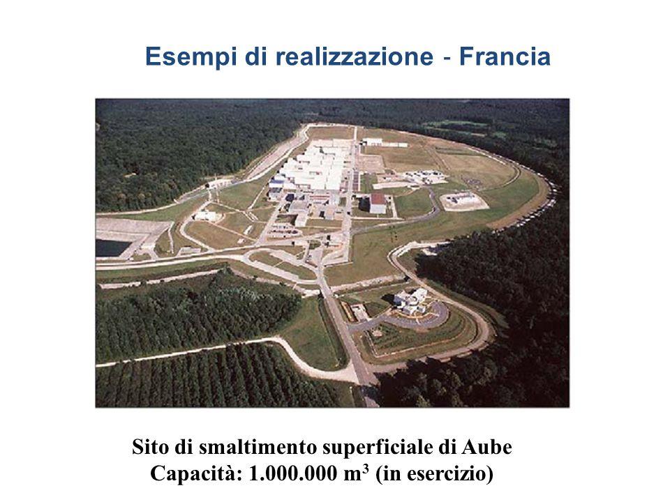 Sito di smaltimento superficiale di Aube Capacità: 1.000.000 m 3 (in esercizio) Esempi di realizzazione ‐ Francia