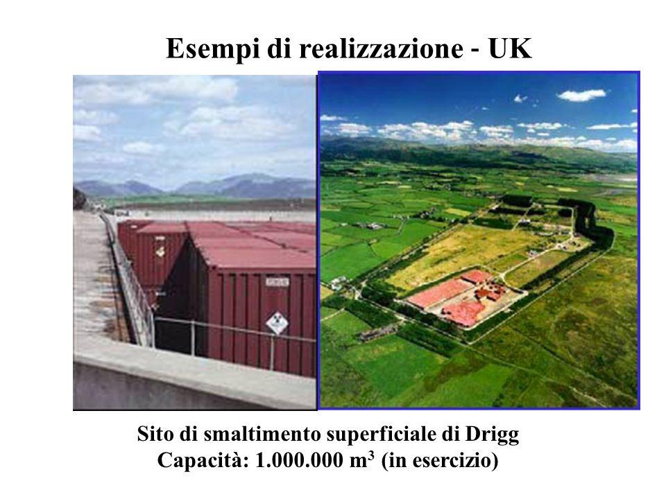 Sito di smaltimento superficiale di Drigg Capacità: 1.000.000 m 3 (in esercizio) Esempi di realizzazione ‐ UK