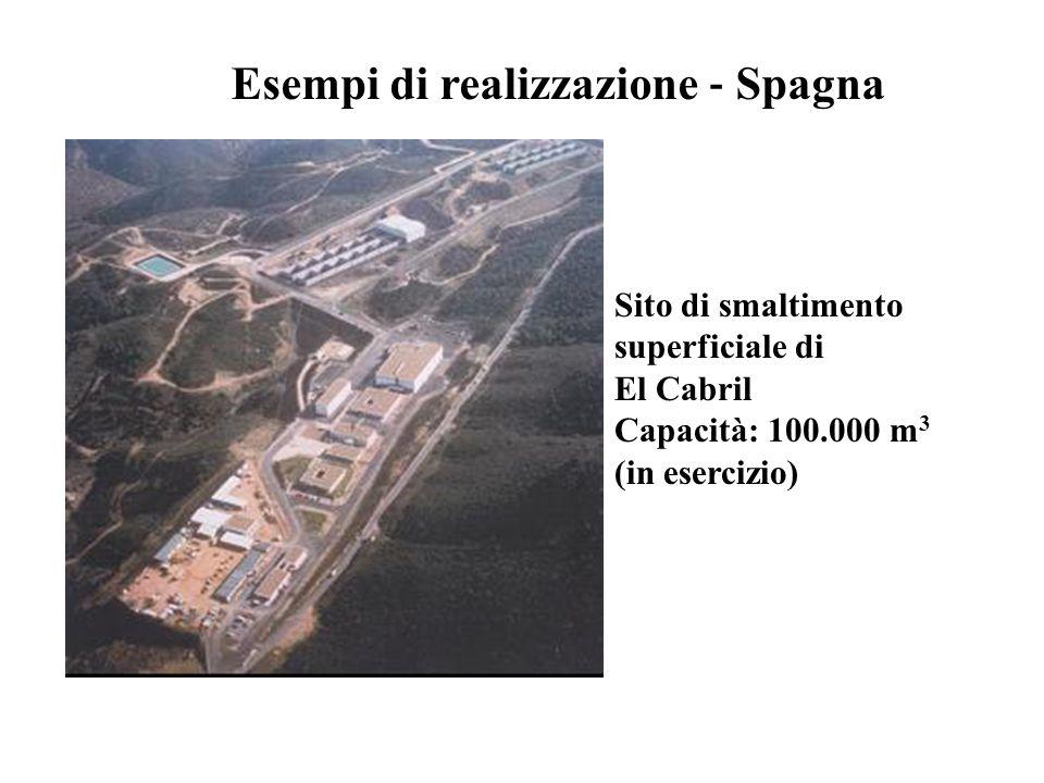 Sito di smaltimento superficiale di El Cabril Capacità: 100.000 m 3 (in esercizio) Esempi di realizzazione ‐ Spagna