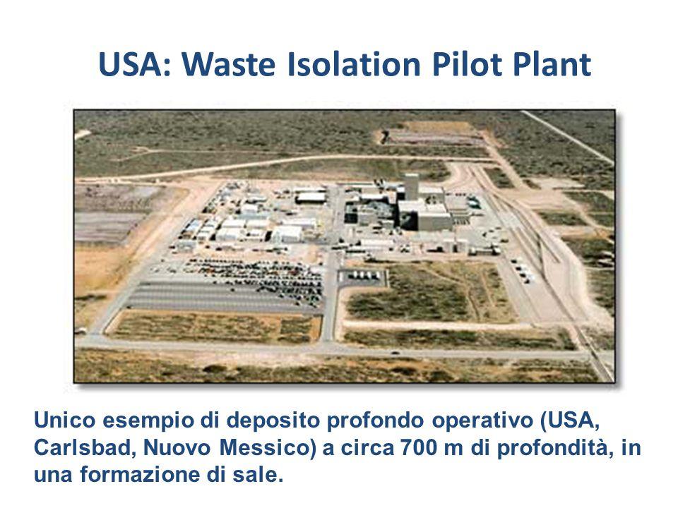 Unico esempio di deposito profondo operativo (USA, Carlsbad, Nuovo Messico) a circa 700 m di profondità, in una formazione di sale. USA: Waste Isolati