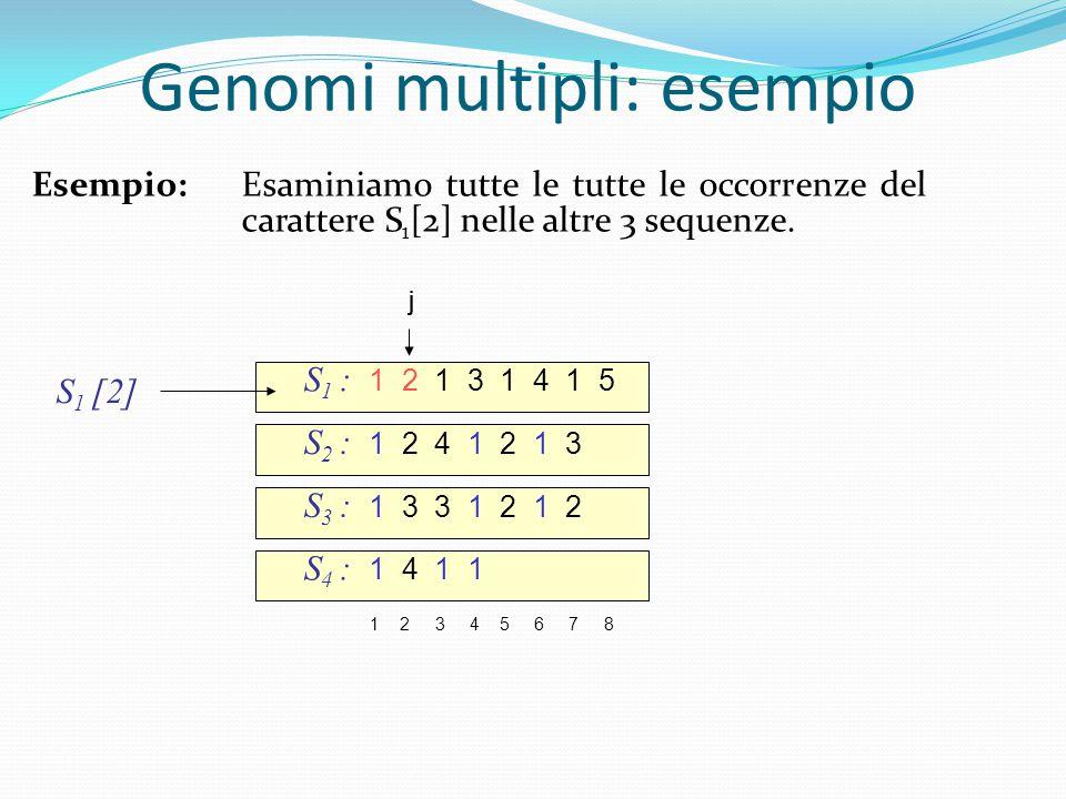 S 1 : 1 2 1 3 1 4 1 5 S 2 : 1 2 4 1 2 1 3 1 2 3 4 5 6 7 8 S 3 : 1 3 3 1 2 1 2 S 4 : 1 4 1 1 S 1 [2] j Genomi multipli: esempio j Esempio:Esaminiamo tutte le tutte le occorrenze del carattere S 1 [2] nelle altre 3 sequenze.
