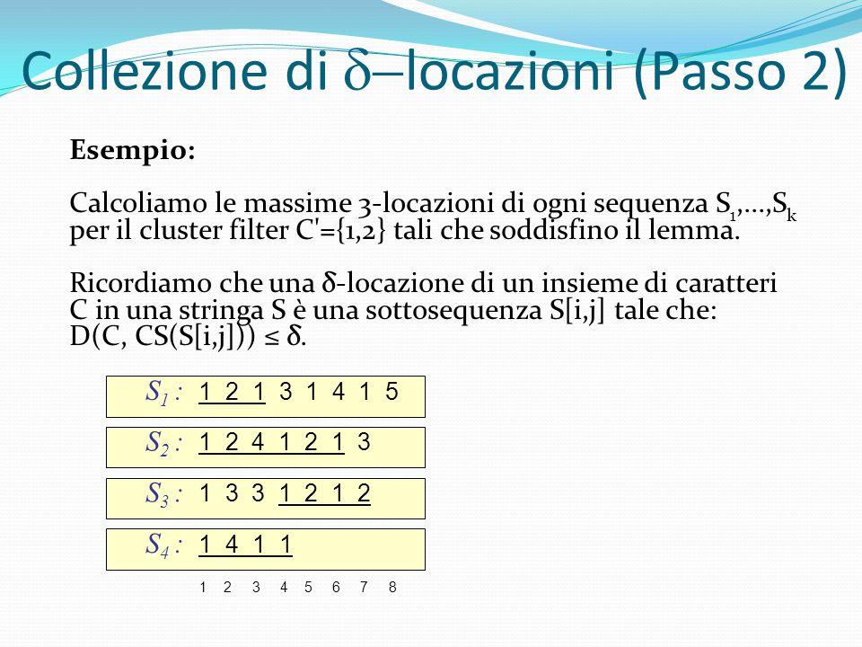 S 1 : 1 2 1 3 1 4 1 5 S 2 : 1 2 4 1 2 1 3 1 2 3 4 5 6 7 8 S 3 : 1 3 3 1 2 1 2 S 4 : 1 4 1 1 Collezione di  locazioni (Passo 2) Esempio: Calcoliamo le massime 3-locazioni di ogni sequenza S 1,...,S k per il cluster filter C ={1,2} tali che soddisfino il lemma.