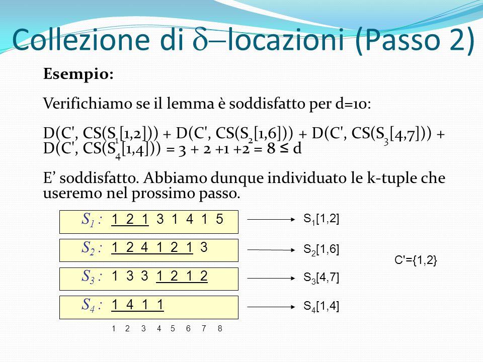 S 1 [1,2] S 2 [1,6] S 3 [4,7] S 4 [1,4] Esempio: Verifichiamo se il lemma è soddisfatto per d=10: D(C', CS(S 1 [1,2])) + D(C', CS(S 2 [1,6])) + D(C',