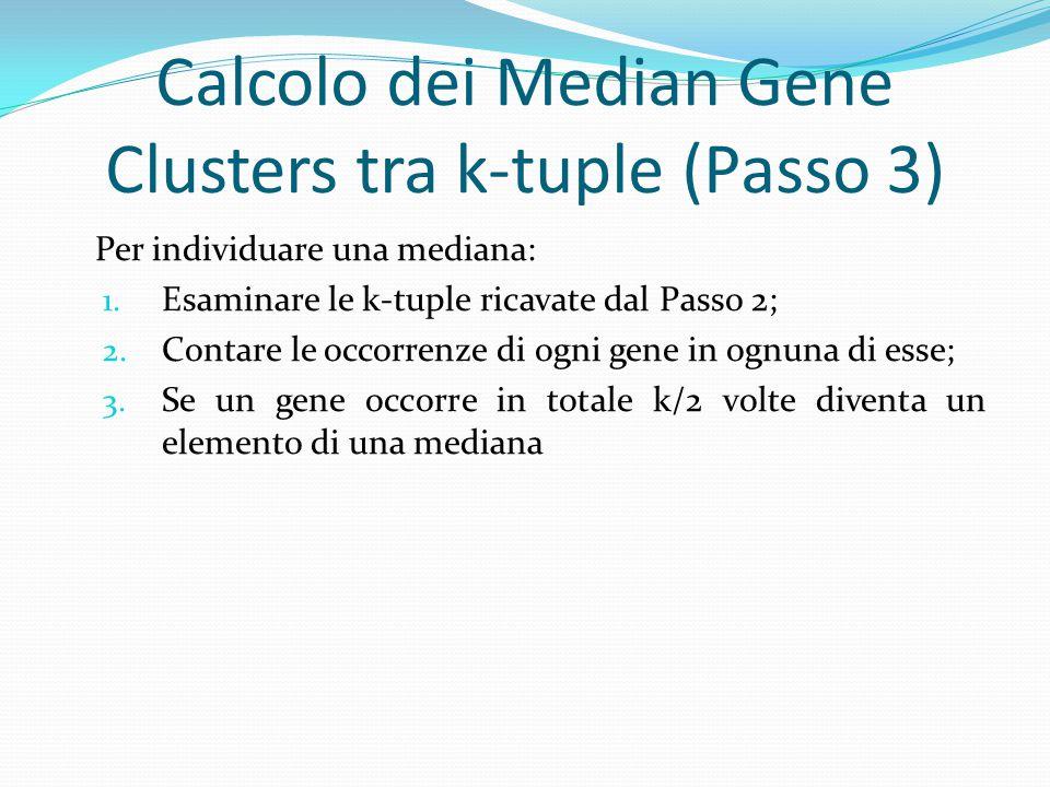 Calcolo dei Median Gene Clusters tra k-tuple (Passo 3) Per individuare una mediana: 1. Esaminare le k-tuple ricavate dal Passo 2; 2. Contare le occorr