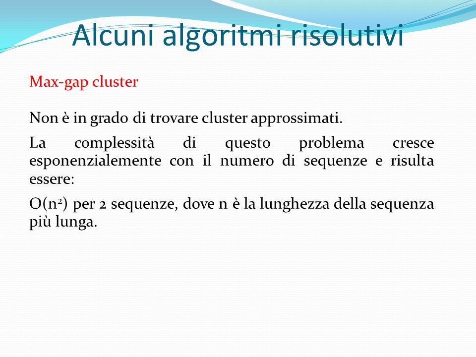 Max-gap cluster Non è in grado di trovare cluster approssimati. La complessità di questo problema cresce esponenzialemente con il numero di sequenze e
