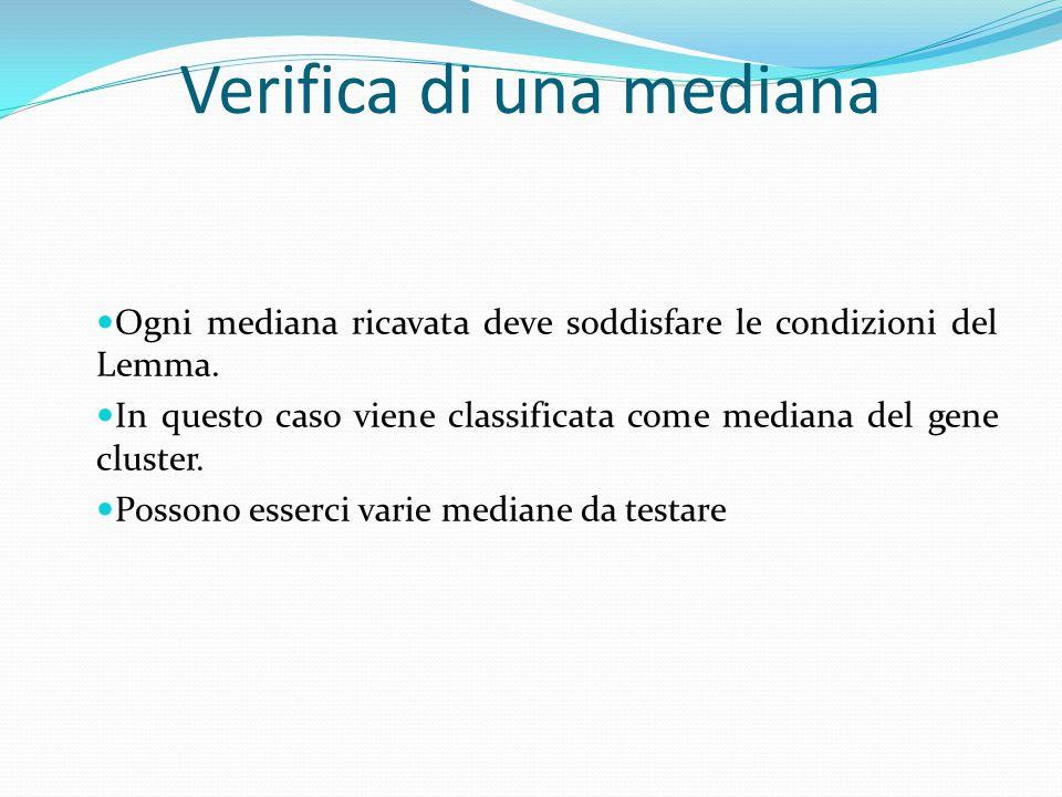 Verifica di una mediana Ogni mediana ricavata deve soddisfare le condizioni del Lemma. In questo caso viene classificata come mediana del gene cluster