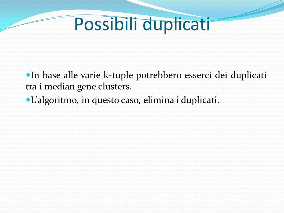 Possibili duplicati In base alle varie k-tuple potrebbero esserci dei duplicati tra i median gene clusters. L'algoritmo, in questo caso, elimina i dup