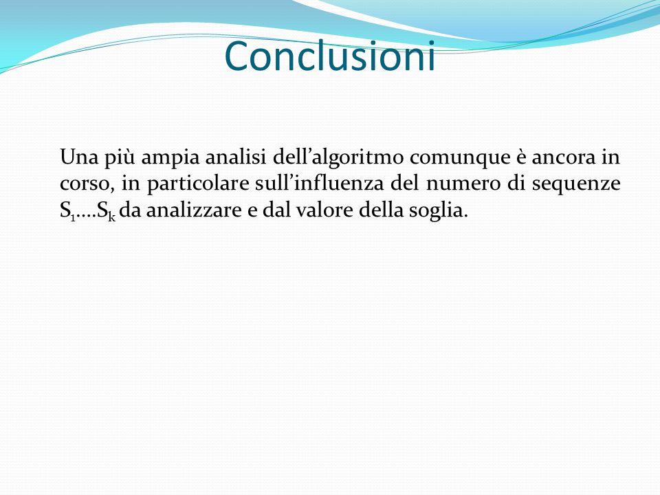 Conclusioni Una più ampia analisi dell'algoritmo comunque è ancora in corso, in particolare sull'influenza del numero di sequenze S 1 ….S k da analizzare e dal valore della soglia.
