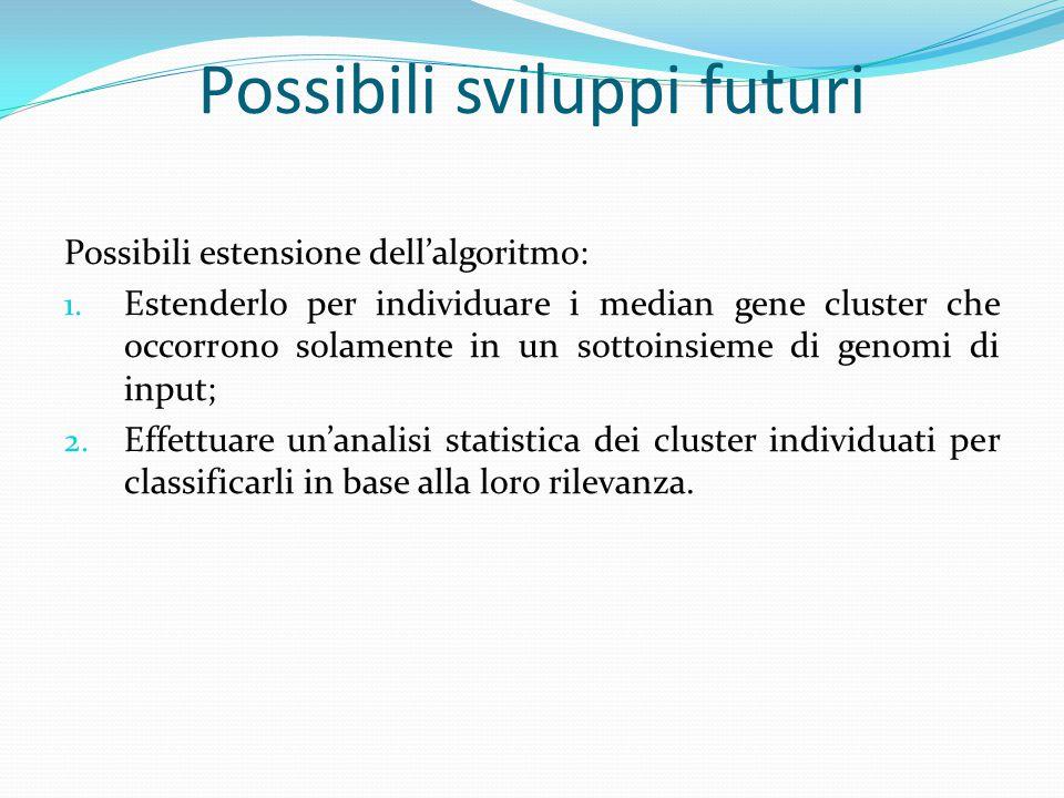Possibili sviluppi futuri Possibili estensione dell'algoritmo: 1. Estenderlo per individuare i median gene cluster che occorrono solamente in un sotto