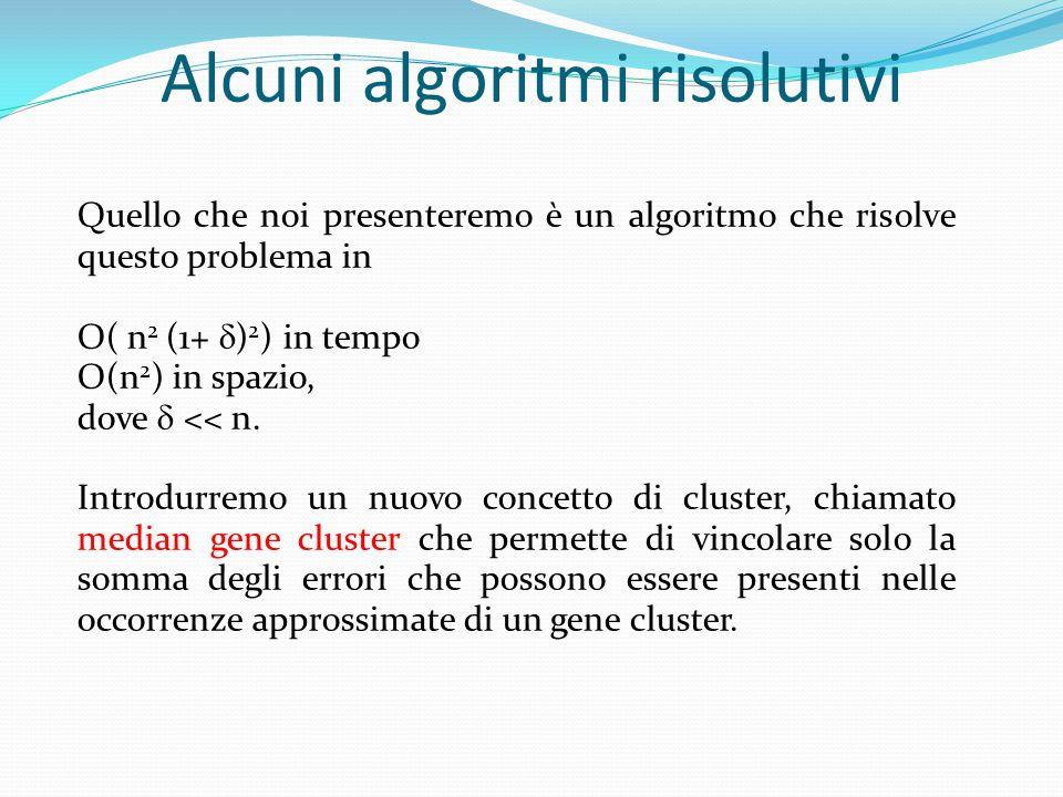 Quello che noi presenteremo è un algoritmo che risolve questo problema in O( n 2 (1+  ) 2 ) in tempo O(n 2 ) in spazio, dove  << n.