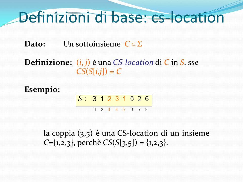 Definizioni di base: cs-location Dato: Un sottoinsieme C  Σ Definizione: (i, j) è una CS-location di C in S, sse CS(S[i,j]) = C Esempio: la coppia (3,5) è una CS-location di un insieme C={1,2,3}, perchè CS(S[3,5]) = {1,2,3}.
