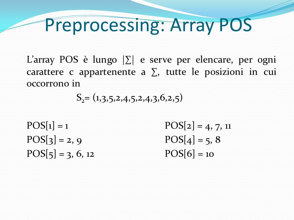 Preprocessing: Array POS L'array POS è lungo |∑| e serve per elencare, per ogni carattere c appartenente a ∑, tutte le posizioni in cui occorrono in S 2 = (1,3,5,2,4,5,2,4,3,6,2,5) POS[1] = 1POS[2] = 4, 7, 11 POS[3] = 2, 9POS[4] = 5, 8 POS[5] = 3, 6, 12POS[6] = 10