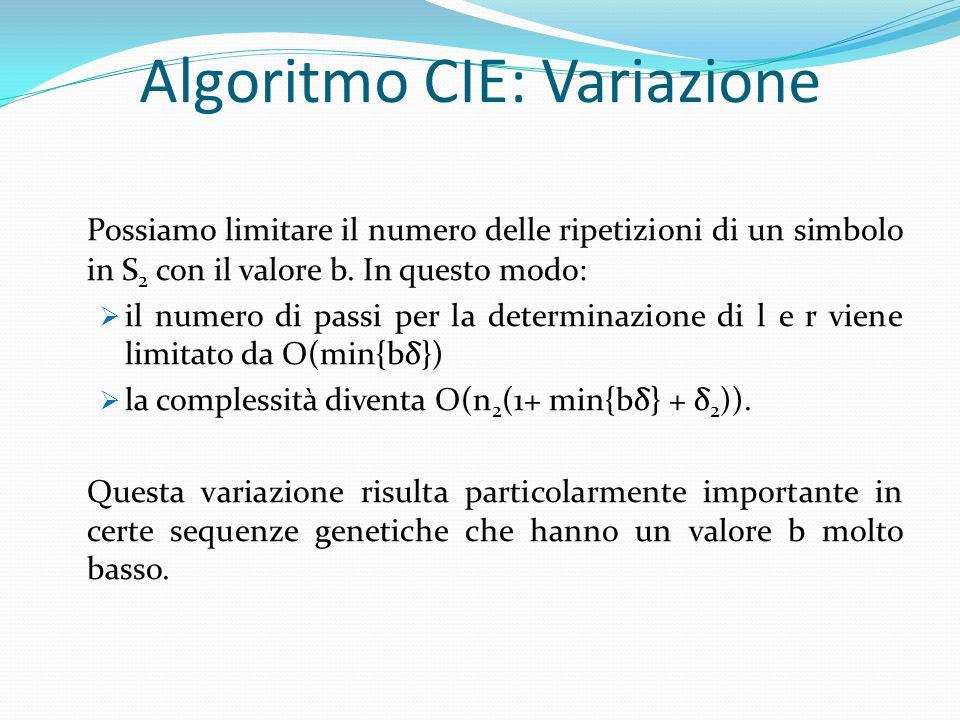 Algoritmo CIE: Variazione Possiamo limitare il numero delle ripetizioni di un simbolo in S 2 con il valore b. In questo modo:  il numero di passi per