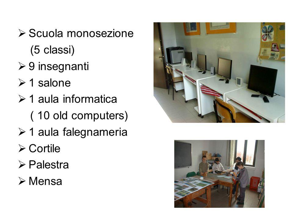  Scuola monosezione (5 classi)  9 insegnanti  1 salone  1 aula informatica ( 10 old computers)  1 aula falegnameria  Cortile  Palestra  Mensa