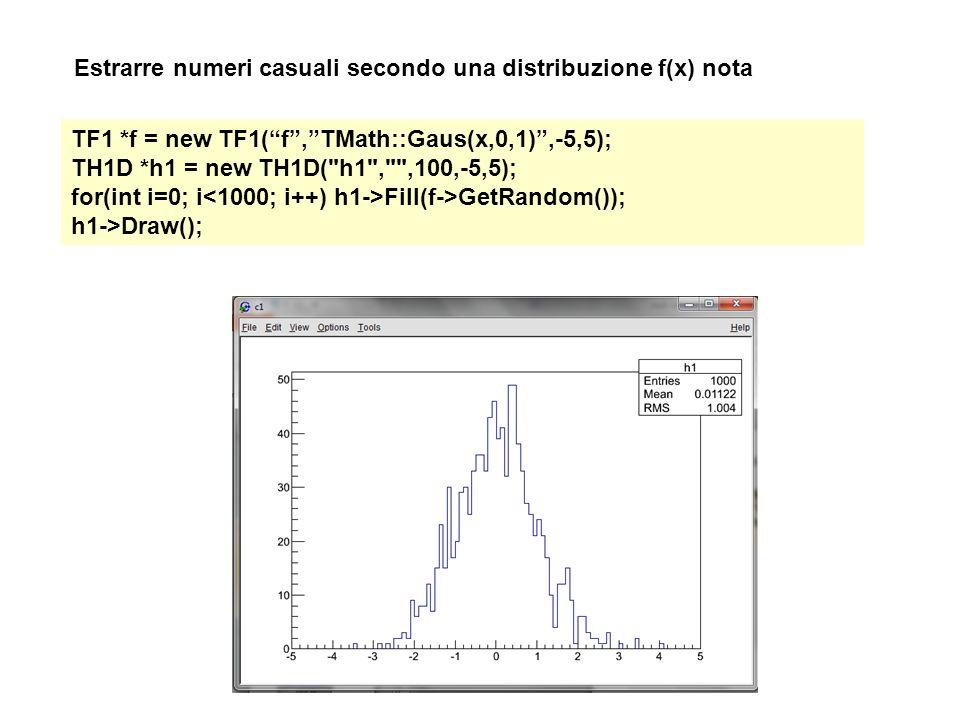 """Estrarre numeri casuali secondo una distribuzione f(x) nota TF1 *f = new TF1(""""f"""",""""TMath::Gaus(x,0,1)"""",-5,5); TH1D *h1 = new TH1D("""