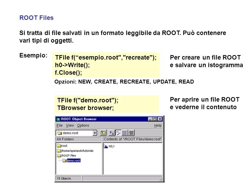 """ROOT Files Si tratta di file salvati in un formato leggibile da ROOT. Può contenere vari tipi di oggetti. Esempio: TFile f(""""esempio.root"""