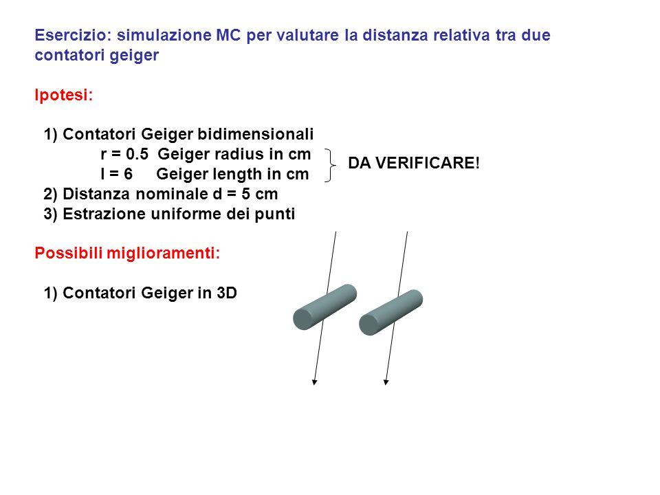 Esercizio: simulazione MC per valutare la distanza relativa tra due contatori geiger Ipotesi: 1) Contatori Geiger bidimensionali r = 0.5 Geiger radius