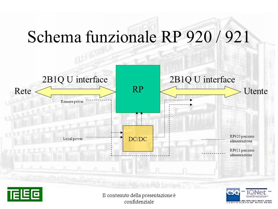 Il contenuto della presentazione è confidenziale Funzione RP 920 e RP 921 Entrambi gli apparati implementano la funzione di rigenerazione del segnale ISDN 2B1Q e vengono utilizzati quando: 1.La distanza tra centrale e utente supera i limiti delle normali tratte ISDN con codice 2B1Q (Attenuazione MAX:36 dB @ 40KHz Pari a 4,2 Km con cavo 4/10 8,4 Km con cavo 6/10) 2.Il rapporto S/N scende al di sotto della soglia minima per il segnale 2B1Q a causa di fonti di rumore esterne (linee TLC disturbanti, linee elettriche, motori ecc.) L' RP 920 necessita di alimentazione locale e svolge la funzione di rigenerazione della tensione di telealimentazione.