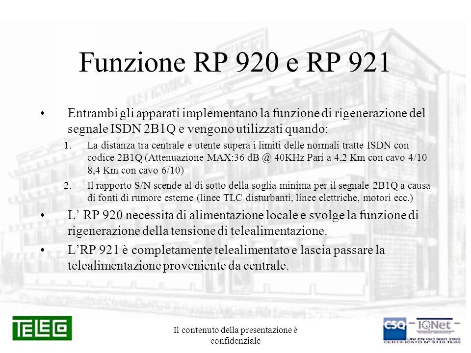 Il contenuto della presentazione è confidenziale Tipologie di collegamento CentraleRP920/1NT CentraleRP920NTRP921 CentraleRP920NTRP921RP920 Max 8,4Km Max 12,6Km Max 16,8Km Cavo 4/10