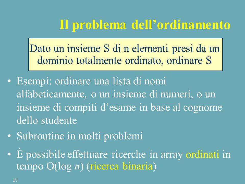 Dato un insieme S di n elementi presi da un dominio totalmente ordinato, ordinare S Il problema dell'ordinamento Esempi: ordinare una lista di nomi alfabeticamente, o un insieme di numeri, o un insieme di compiti d'esame in base al cognome dello studente Subroutine in molti problemi È possibile effettuare ricerche in array ordinati in tempo O(log n) (ricerca binaria) 17