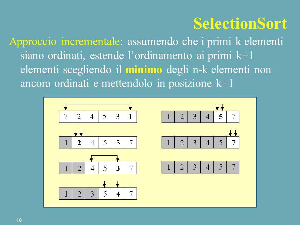SelectionSort Approccio incrementale: assumendo che i primi k elementi siano ordinati, estende l'ordinamento ai primi k+1 elementi scegliendo il minimo degli n-k elementi non ancora ordinati e mettendolo in posizione k+1 19