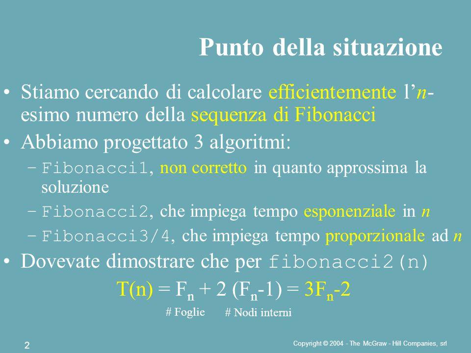Copyright © 2004 - The McGraw - Hill Companies, srl 2 Stiamo cercando di calcolare efficientemente l'n- esimo numero della sequenza di Fibonacci Abbiamo progettato 3 algoritmi: –Fibonacci1, non corretto in quanto approssima la soluzione –Fibonacci2, che impiega tempo esponenziale in n –Fibonacci3/4, che impiega tempo proporzionale ad n Dovevate dimostrare che per fibonacci2(n) T(n) = F n + 2 (F n -1) = 3F n -2 Punto della situazione # Foglie # Nodi interni