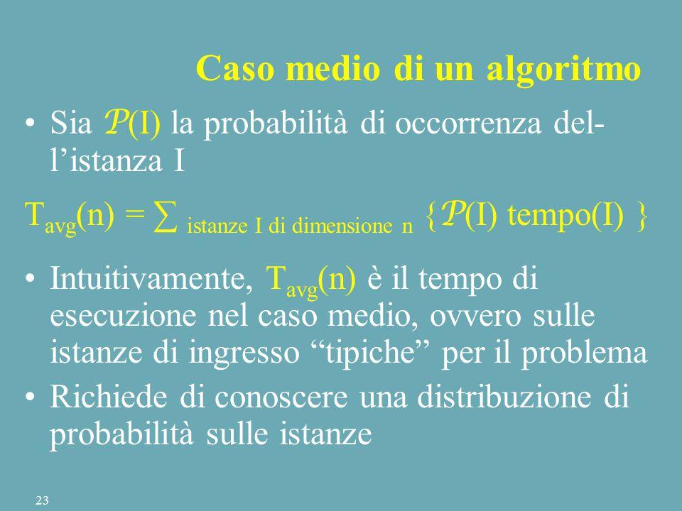 Sia P (I) la probabilità di occorrenza del- l'istanza I T avg (n) = ∑ istanze I di dimensione n { P (I) tempo(I) } Intuitivamente, T avg (n) è il tempo di esecuzione nel caso medio, ovvero sulle istanze di ingresso tipiche per il problema Richiede di conoscere una distribuzione di probabilità sulle istanze Caso medio di un algoritmo 23