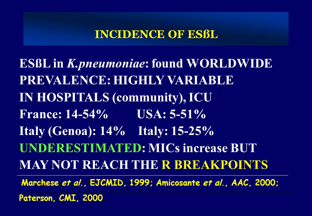 INCIDENCE OF ESßL ESßL in K.pneumoniae: found WORLDWIDE PREVALENCE: HIGHLY VARIABLE IN HOSPITALS (community), ICU France: 14-54% USA: 5-51% Italy (Gen