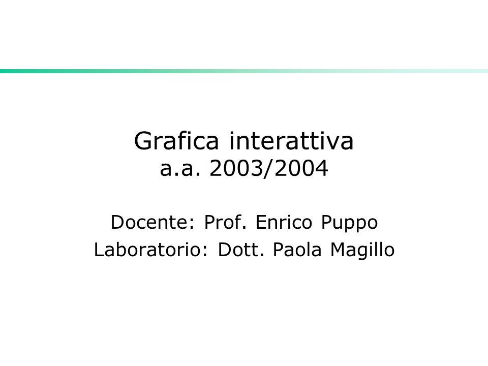 Grafica interattiva a.a. 2003/2004 Docente: Prof. Enrico Puppo Laboratorio: Dott. Paola Magillo