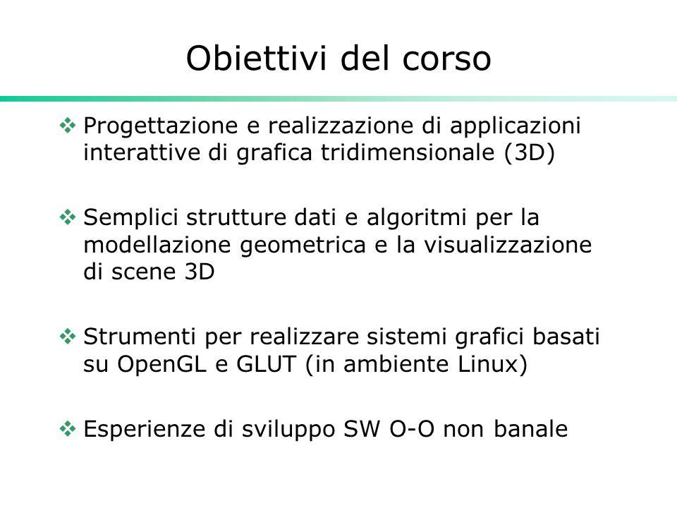 Obiettivi del corso  Progettazione e realizzazione di applicazioni interattive di grafica tridimensionale (3D)  Semplici strutture dati e algoritmi per la modellazione geometrica e la visualizzazione di scene 3D  Strumenti per realizzare sistemi grafici basati su OpenGL e GLUT (in ambiente Linux)  Esperienze di sviluppo SW O-O non banale
