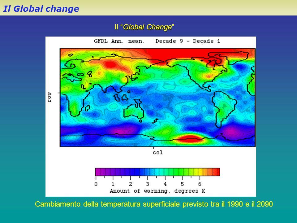 """Il """"Global Change"""" Il Global change Cambiamento della temperatura superficiale previsto tra il 1990 e il 2090"""