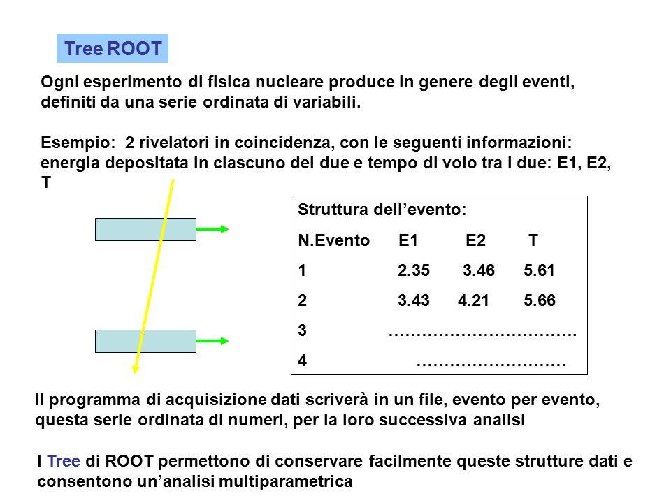 Tree ROOT Ogni esperimento di fisica nucleare produce in genere degli eventi, definiti da una serie ordinata di variabili. Esempio: 2 rivelatori in co