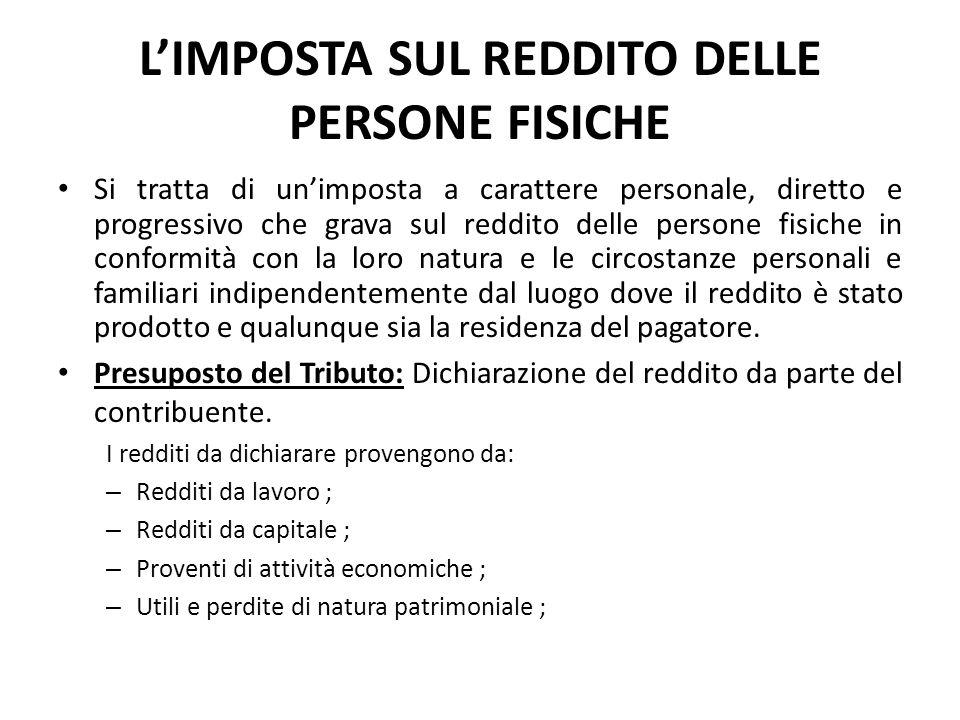 L'IMPOSTA SUL REDDITO DELLE PERSONE FISICHE Si tratta di un'imposta a carattere personale, diretto e progressivo che grava sul reddito delle persone f