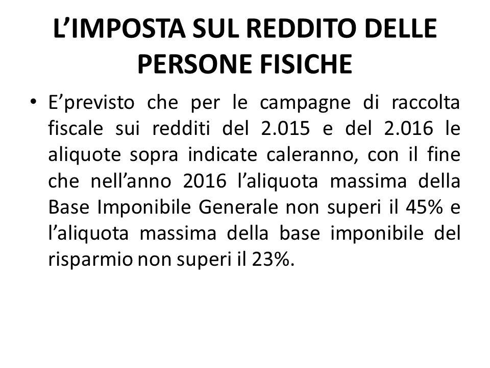 L'IMPOSTA SUL REDDITO DELLE PERSONE FISICHE E'previsto che per le campagne di raccolta fiscale sui redditi del 2.015 e del 2.016 le aliquote sopra ind