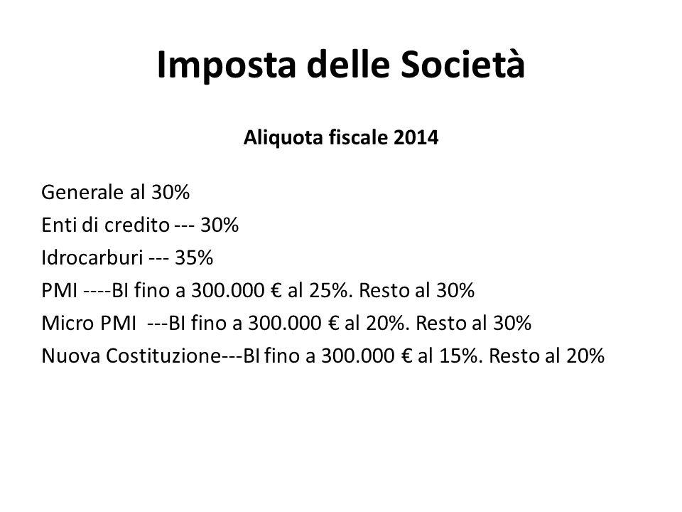 Imposta delle Società Aliquota fiscale 2014 Generale al 30% Enti di credito --- 30% Idrocarburi --- 35% PMI ----BI fino a 300.000 € al 25%. Resto al 3
