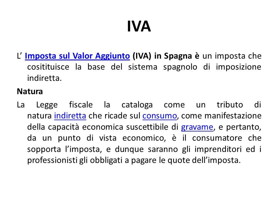 IVA L' Imposta sul Valor Aggiunto (IVA) in Spagna è un imposta che cositituisce la base del sistema spagnolo di imposizione indiretta.Imposta sul Valo