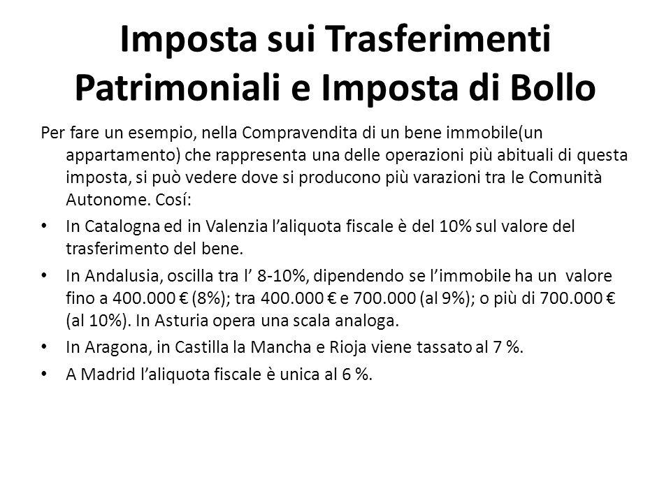 Imposta sui Trasferimenti Patrimoniali e Imposta di Bollo Per fare un esempio, nella Compravendita di un bene immobile(un appartamento) che rappresent