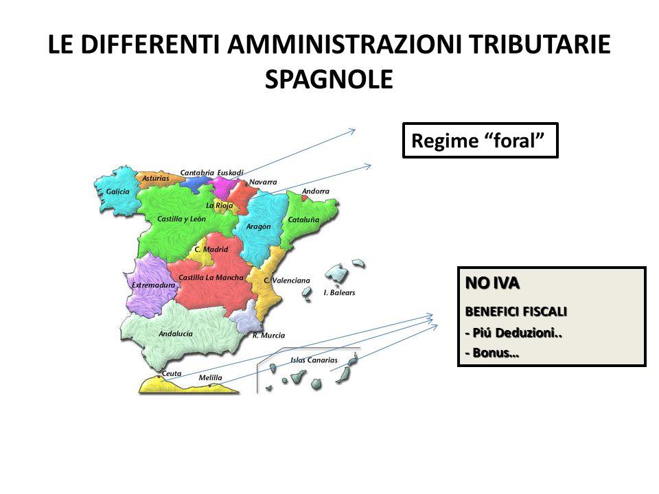 """LE DIFFERENTI AMMINISTRAZIONI TRIBUTARIE SPAGNOLE Regime """"foral"""" NO IVA BENEFICI FISCALI - Piú Deduzioni.. - Bonus…"""