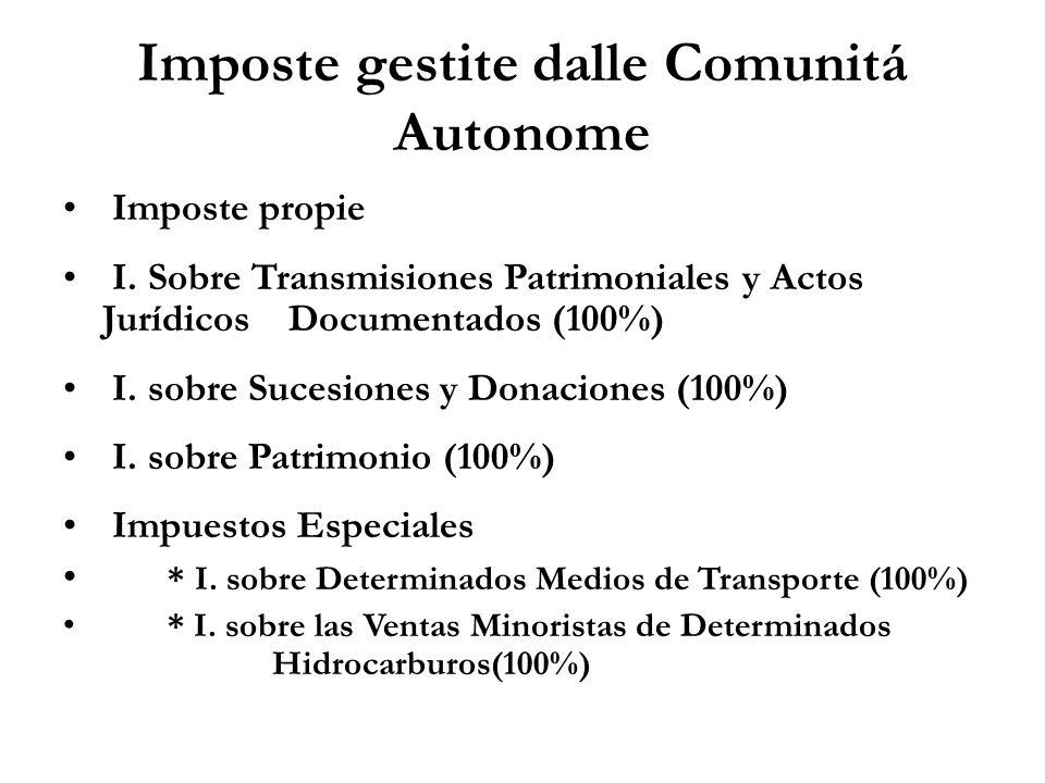 Imposte gestite dalle Comunitá Autonome Imposte propie I. Sobre Transmisiones Patrimoniales y Actos Jurídicos Documentados (100%) I. sobre Sucesiones