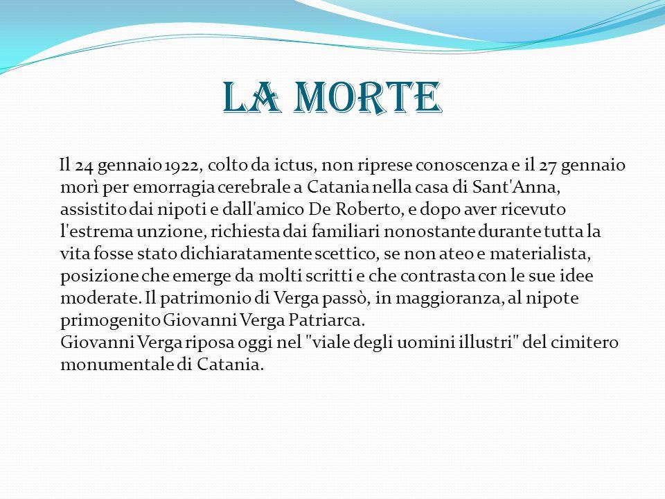 La morte Il 24 gennaio 1922, colto da ictus, non riprese conoscenza e il 27 gennaio morì per emorragia cerebrale a Catania nella casa di Sant'Anna, as