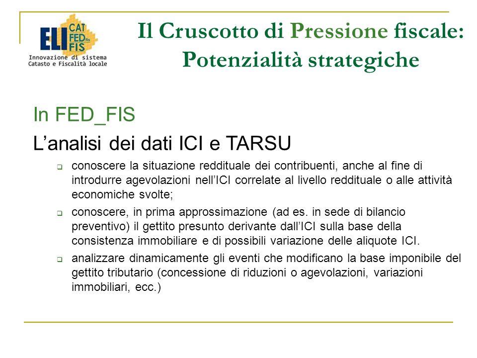 In FED_FIS L'analisi dei dati ICI e TARSU  conoscere la situazione reddituale dei contribuenti, anche al fine di introdurre agevolazioni nell'ICI correlate al livello reddituale o alle attività economiche svolte;  conoscere, in prima approssimazione (ad es.