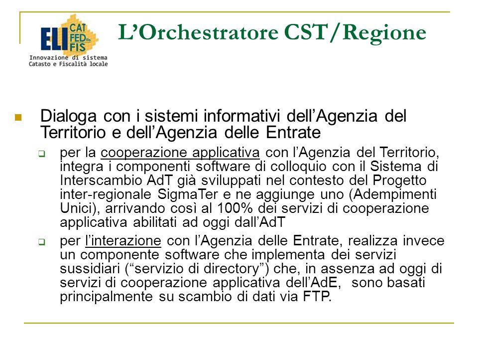 L'Orchestratore CST/Regione Dialoga con i sistemi informativi dell'Agenzia del Territorio e dell'Agenzia delle Entrate  per la cooperazione applicativa con l'Agenzia del Territorio, integra i componenti software di colloquio con il Sistema di Interscambio AdT già sviluppati nel contesto del Progetto inter-regionale SigmaTer e ne aggiunge uno (Adempimenti Unici), arrivando così al 100% dei servizi di cooperazione applicativa abilitati ad oggi dall'AdT  per l'interazione con l'Agenzia delle Entrate, realizza invece un componente software che implementa dei servizi sussidiari ( servizio di directory ) che, in assenza ad oggi di servizi di cooperazione applicativa dell'AdE, sono basati principalmente su scambio di dati via FTP.